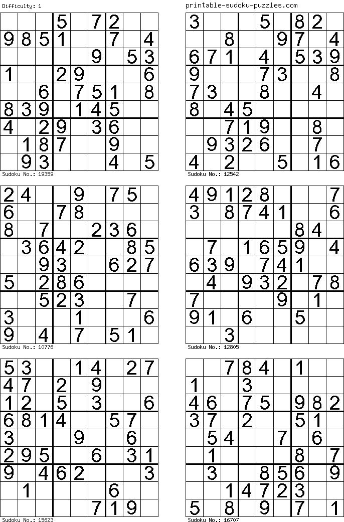 Sudoku zum Ausdrucken, Sudoku drucken