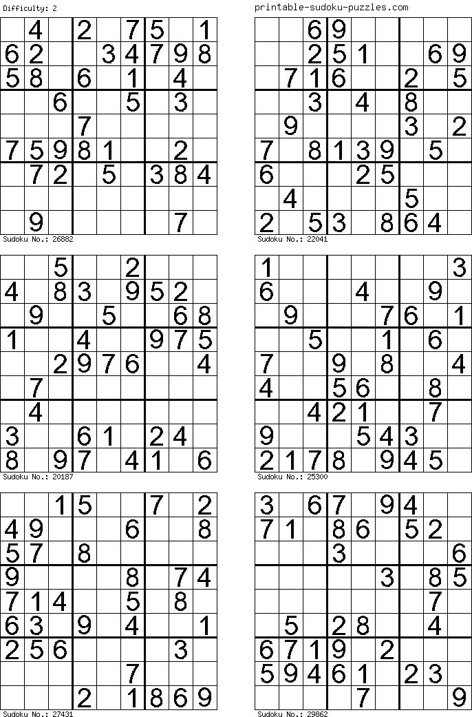 Kostenlos Sudokus ausdrucken