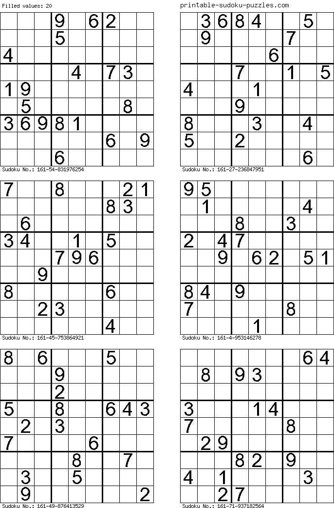 Lively image for free printable sudoku 6 per page