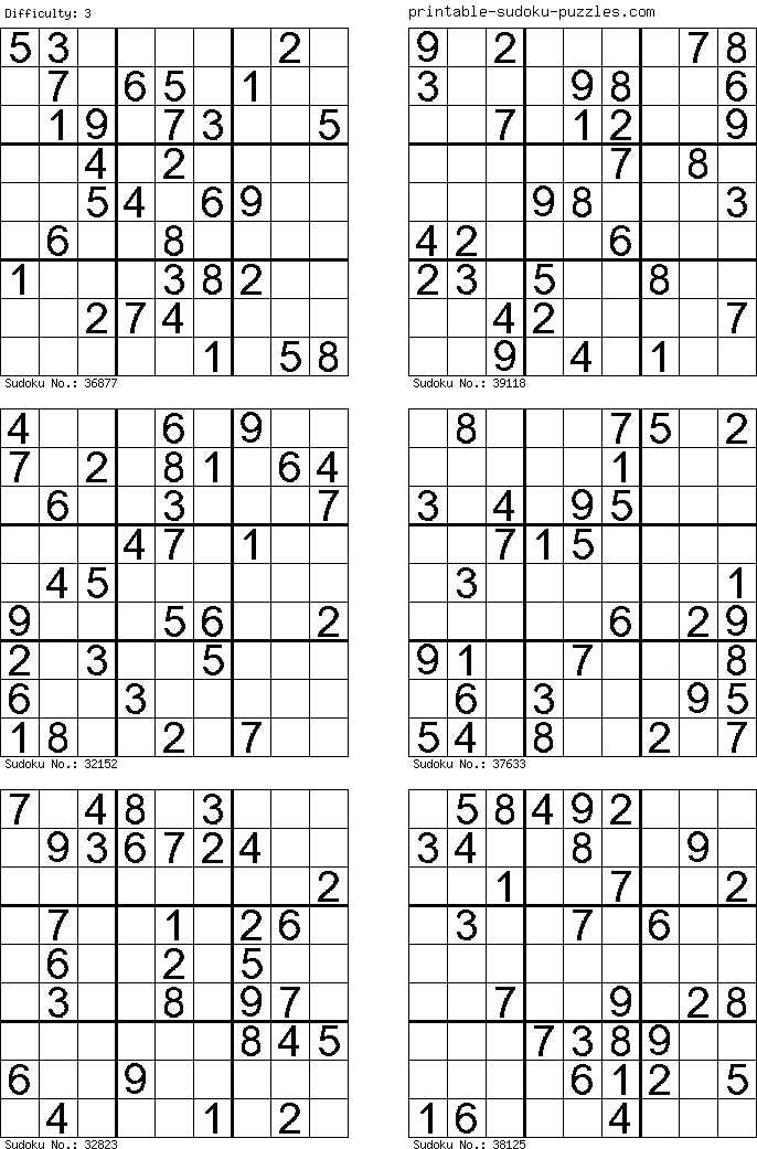 image about Printable Sudoku 6 Per Page identified as Absolutely free Printable Sudoku Puzzles